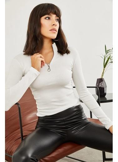 Sortee Kadın Fermuarlı Kaşkorse Bluz Beyaz
